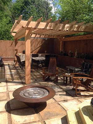 Image: Patio and Fire Pit construction project. Hardrock Landscape Construction Company - Woodstock and Atlanta GA Metro