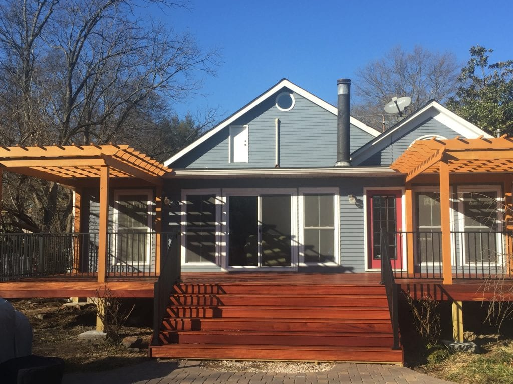 Image: Deck landscape construction project. Hardrock Landscape Construction Company - Woodstock and Atlanta GA Metro